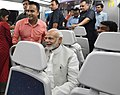 The Prime Minister, Shri Narendra Modi traveling in Airport Express Metro Line to reach the venue of the foundation stone laying ceremony of India International Convention and Expo Centre, at Dwarka, New Delhi (1).JPG