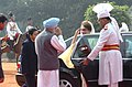 The Prime Minister of Bangladesh, Ms Khaleda Zia being welcomed by the Prime Minister, Dr. Manmohan Singh at a Ceremonial Reception, in New Delhi on March 21, 2006.jpg