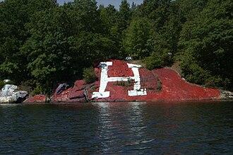 "Harvard–Yale Regatta - ""The Rock"" at Bartlett's Cove during the 2010 Harvard–Yale Regatta"