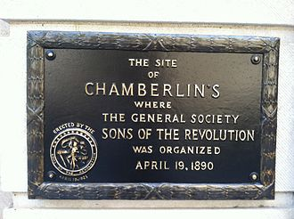 Sons of the Revolution - The Sons of the Revolution plaque in Washington DC.