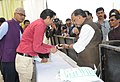 "The Union Minister for Agriculture and Farmers Welfare, Shri Radha Mohan Singh made cashless payment to promote cashless transaction drive, at the inauguration of the ""Krishi Unnati Mela, 2017"", in New Delhi.jpg"