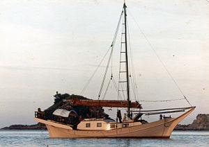 Bedar (ship) - The Burong Bahri anchored in Pulau - island - Kapas, 1980