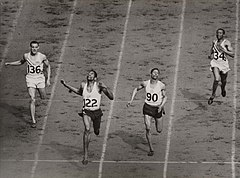 The finish of the mens 400 metres at the Olympic Games, London, 1948. (7649947722).jpg