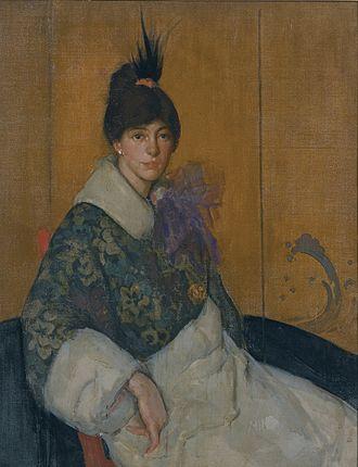 William Penhallow Henderson - The green cloak (1912)