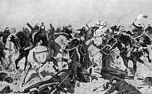 Prithviraj Chauhan - A 19th century artist's imagination of the Second battle of Tarain