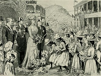 Duke and Duchess of Cornwall and York in Mauritius, 1901 The web of empire - a diary of the imperial tour of their Royal Highnesses the Duke and Duchess of Cornwall and York in 1901 (1902) (14763807672).jpg
