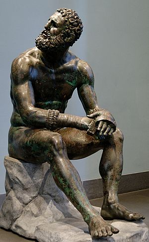 Ancient Greek boxing - Boxer resting after contest (bronze sculpture, BCE 300–200).