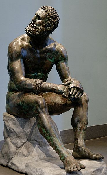 Bronze Sculpture: Boxer at Rest
