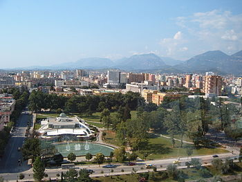 A view of downtown Tirana from revolving cafe on top of Skytower