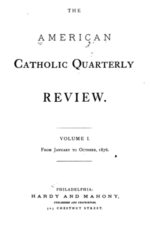 The American Catholic Quarterly Review - Title page of the first edition.