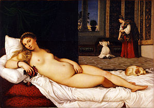 Venus and Musician - Titian's Venus of Urbino, c. 1534, Uffizi, largely the same pose in reverse
