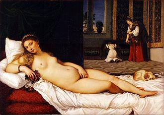 Venus and Musician - Titian's Venus of Urbino, c. 1534, Uffizi, largely the same pose in reverse