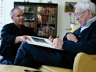 "2011 in poetry - Celebrated Swedish poet Tomas Transtromer (right) signs Vecka nr.II, a reflection of his poem ""Galleriet,"" an artist book by multi-award Iraqi-Swedish Modhir Ahmed (left)"