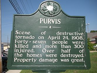 Purvis, Mississippi - Marker placed by the State to remember the Tornado of 1908, located in front of the Purvis Public Library.