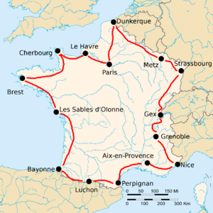 Map of France with 15 cities marked by black dots, connected by red lines. The route formed goes from Paris, counterclockwise along France's borders, back to Paris.