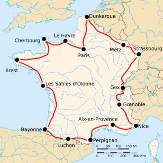 1920 Tour de France - Route of the 1920 Tour de France Followed counterclockwise, starting in Paris