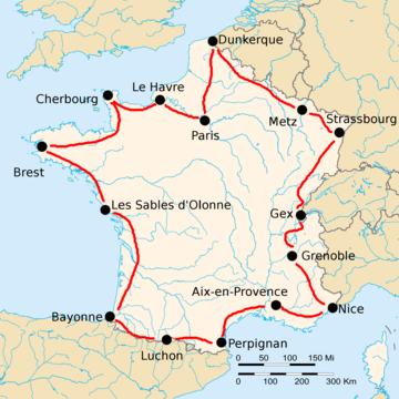 Map of France with the route of the 1920 Tour de France