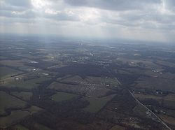 Countryside in central Perry Township, with Fayetteville in the middle