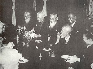 Rash Behari Bose - A dinner party given to Bose in his honour by his close Japanese friends, including Mitsuru Tōyama, a right-wing nationalist and Pan-Asianism leader (centre, behind the table), and Tsuyoshi Inukai, future Japanese prime minister (to the right of Tōyama). Behind Tōyama is Bose. 1915.