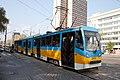 Tram in Sofia near Russian monument 055.jpg