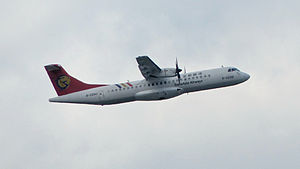 TransAsia Airways ATR 72-212A B-22810 Taking off from Taipei Songshan Airport 20140718b.jpg