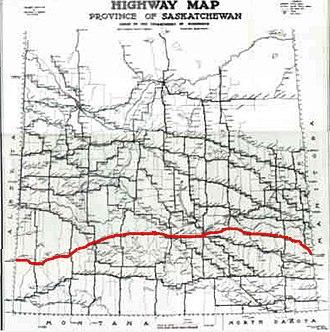 Saskatchewan Highway 1 - Image: Trans Canada Sk Map