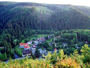 Treseburg - View of Treseburg from the path to the Weißer Hirsch