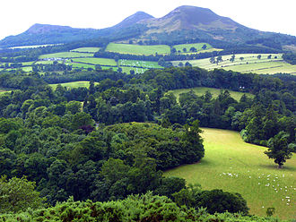 Trimontium (Newstead) - Site of Trimontium with the three peaks of Eildon Hill in the background