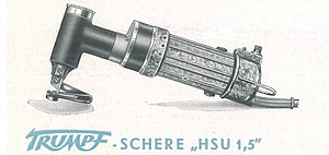Trumpf - One of the first motor-driven hand shears.