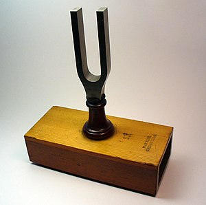 Tuning fork - Tuning fork on resonance box, by Max Kohl, Chemnitz, Germany