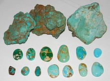 993da42d23e6e Untreated turquoise, Nevada, US. Rough nuggets from the McGinness Mine,  Austin. Blue and green cabochons showing spiderweb, Bunker Hill Mine,  Royston