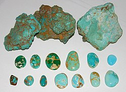 Untreated turquoise, Nevada USA. Rough nuggets from the McGuinness Mine, Austin; Blue and green cabochons showing spiderweb, Bunker Hill Mine, Royston