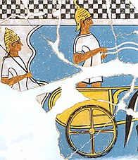 Two Mycenaean chariot warriors on a fresco from Pylos about 1350 BC.jpg
