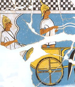 Two Mycenaean chariot warriors on a fresco from Pylos about 1350 BC