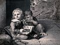 Two young boys sitting together, one holding a stick and loo Wellcome V0038820.jpg