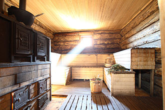 Banya (sauna) - Interior of a modern Russian banya