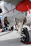 U.S.NAVY E-2D Advanced Hawkeye(168991) of VAW-125 T56-A-427A turboshaft engine nacelle & left main landing gear left rear view at MCAS Iwakuni May 5, 2018.jpg
