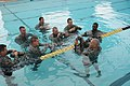 U.S. Army Sgt. Ralph Hendress, right, supply Non-commissioned Officer from 983rd Engineer Battalion, demonstrates the proper way to tie the Army Combat Uniform trouser legs to trap air and create a flotation 110806-A-AJ827-920.jpg