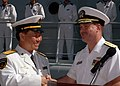 U.S. Navy Rear Adm. Gary A Engle (right) shakes hands with Chinese Peoples Liberation Army Navy Rear Adm. Wang Fushan 060910-N-4965F-006.jpg