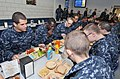 U.S. Navy recruits eat lunch inside the USS Triton recruit barracks' galley at Recruit Training Command at Naval Station Great Lakes, Ill 121031-N-IK959-304.jpg