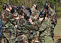 U.S. Sailors don their gas masks during a chemical, biological and radiological drill at Naval Construction Battalion Center Gulfport, Miss., Feb. 8, 2012 120208-N-NG428-009.jpg