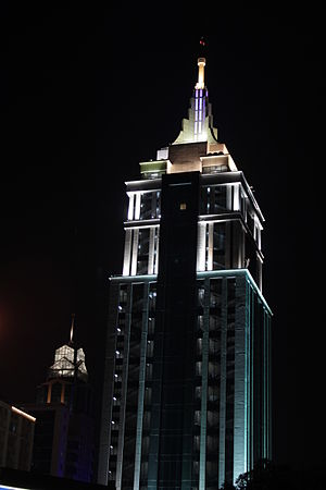 UB City - One of the towers of UB city, as seen in the night.