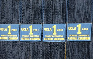 UCLA Bruins women's gymnastics - Banners honoring the NCAA national championships won by UCLA.