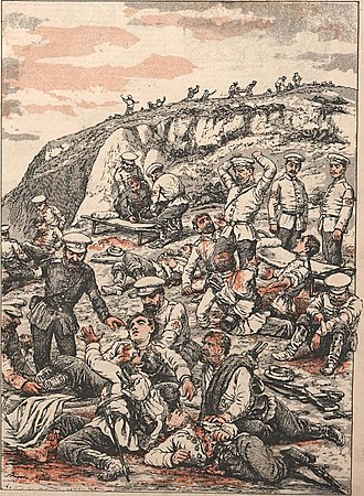 Battle of Liaoyang - After the Battle of Liaoyang: Transport of Russians injured by the Red Cross (Angelo Agostini).