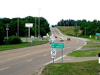 Tennessee State Route 28 - The intersection of U.S. Route 127 and Tennessee State Route 30 in Pikeville, looking north.