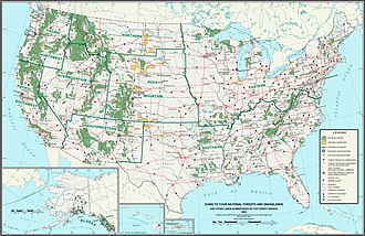 United States National Grassland - Locations of United States National Grasslands depicted in yellow