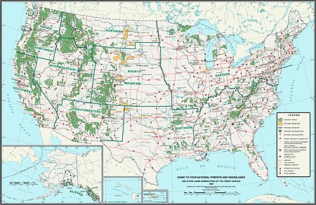 A map of the United States showing the locations of the National Forests and National Grasslands