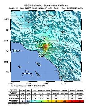 1991 Sierra Madre earthquake - USGS ShakeMap for the event
