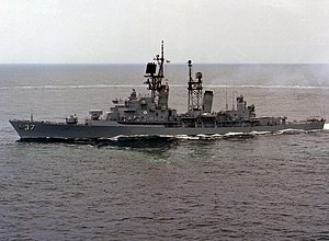 USS Farragut (DDG-37) underway in the Atlantic Ocean on 2 July 1982 (6349812).jpg