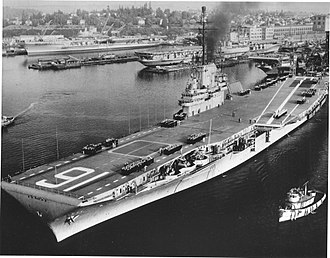 USS Lexington (CV-16) - Lexington departs Puget Sound in 1955 to undertake sea trials following her massive SCB-27/SCB-125 conversion